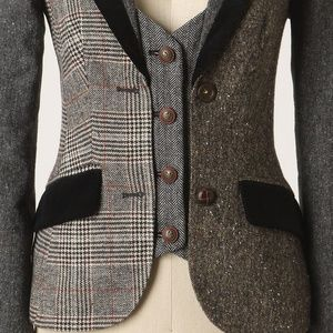 Anthropologie Alma Mater Jacket Mixed Tweed